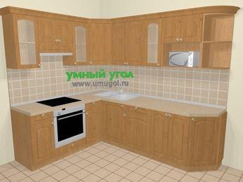Угловая кухня МДФ матовый в стиле кантри 6,8 м², 190 на 250 см, Ольха, верхние модули 72 см, модуль под свч, встроенный духовой шкаф