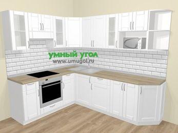 Угловая кухня МДФ матовый  в скандинавском стиле 6,8 м², 190 на 250 см, Белый, верхние модули 72 см, модуль под свч, встроенный духовой шкаф