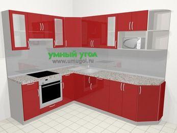 Угловая кухня МДФ глянец в современном стиле 6,8 м², 190 на 250 см, Красный, верхние модули 72 см, модуль под свч, встроенный духовой шкаф