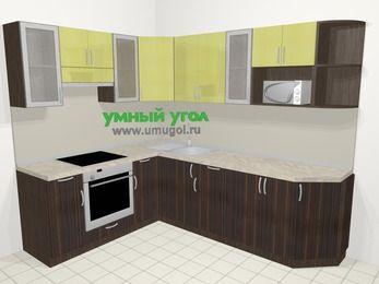 Кухни пластиковые угловые в современном стиле 6,8 м², 190 на 250 см, Желтый Галлион глянец / Дерево Мокка, верхние модули 72 см, модуль под свч, встроенный духовой шкаф