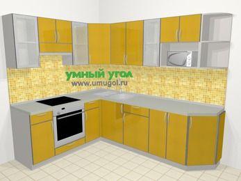 Кухни пластиковые угловые в современном стиле 6,8 м², 190 на 250 см, Желтый глянец, верхние модули 72 см, модуль под свч, встроенный духовой шкаф