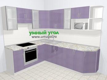 Кухни пластиковые угловые в современном стиле 6,8 м², 190 на 250 см, Сиреневый глянец, верхние модули 72 см, модуль под свч, встроенный духовой шкаф