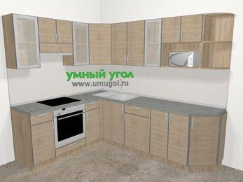 Кухни пластиковые угловые в стиле лофт 6,8 м², 190 на 250 см, Чибли бежевый, верхние модули 72 см, модуль под свч, встроенный духовой шкаф
