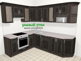 Угловая кухня МДФ патина в классическом стиле 6,8 м², 190 на 250 см, Венге, верхние модули 72 см, модуль под свч, встроенный духовой шкаф