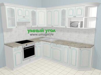 Угловая кухня МДФ патина в стиле прованс 6,8 м², 190 на 250 см, Лиственница белая, верхние модули 72 см, модуль под свч, встроенный духовой шкаф
