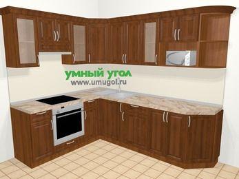 Угловая кухня из массива дерева в классическом стиле 6,8 м², 190 на 250 см, Темно-коричневые оттенки, верхние модули 72 см, модуль под свч, встроенный духовой шкаф