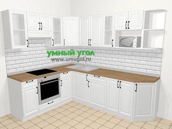 Угловая кухня из массива дерева в скандинавском стиле 6,8 м², 190 на 250 см, Белые оттенки, верхние модули 72 см, модуль под свч, встроенный духовой шкаф
