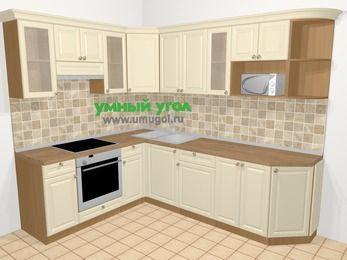 Угловая кухня из массива дерева в стиле кантри 6,8 м², 190 на 250 см, Бежевые оттенки, верхние модули 72 см, модуль под свч, встроенный духовой шкаф