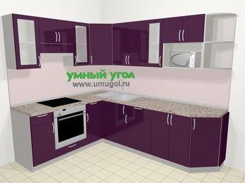 Угловая кухня МДФ глянец в современном стиле 6,8 м², 190 на 250 см, Баклажан, верхние модули 72 см, модуль под свч, встроенный духовой шкаф