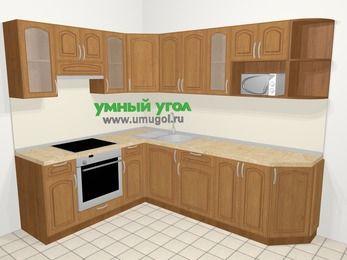 Угловая кухня МДФ патина в классическом стиле 6,8 м², 190 на 250 см, Ольха, верхние модули 72 см, модуль под свч, встроенный духовой шкаф