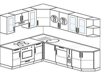 Угловая кухня 6,8 м² (1,9✕2,5 м), верхние модули 72 см, встроенный духовой шкаф