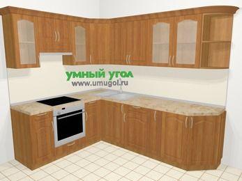 Угловая кухня МДФ матовый в классическом стиле 6,8 м², 190 на 250 см, Вишня, верхние модули 72 см, встроенный духовой шкаф