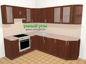 Угловая кухня МДФ матовый в классическом стиле 6,8 м², 190 на 250 см, Вишня темная, верхние модули 72 см, встроенный духовой шкаф