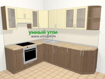 Угловая кухня МДФ матовый в современном стиле 6,8 м², 190 на 250 см, Ваниль / Лиственница бронзовая, верхние модули 72 см, встроенный духовой шкаф