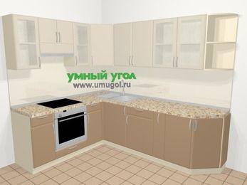 Угловая кухня МДФ матовый в современном стиле 6,8 м², 190 на 250 см, Керамик / Кофе, верхние модули 72 см, встроенный духовой шкаф