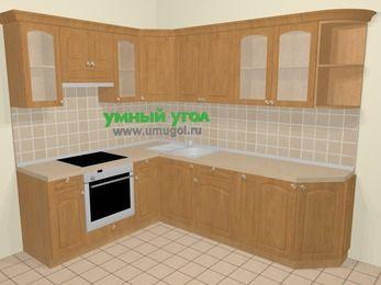 Угловая кухня МДФ матовый в стиле кантри 6,8 м², 190 на 250 см, Ольха, верхние модули 72 см, встроенный духовой шкаф
