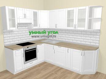 Угловая кухня МДФ матовый  в скандинавском стиле 6,8 м², 190 на 250 см, Белый, верхние модули 72 см, встроенный духовой шкаф