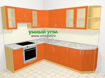 Угловая кухня МДФ металлик в современном стиле 6,8 м², 190 на 250 см, Оранжевый металлик, верхние модули 72 см, встроенный духовой шкаф