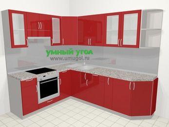 Угловая кухня МДФ глянец в современном стиле 6,8 м², 190 на 250 см, Красный, верхние модули 72 см, встроенный духовой шкаф