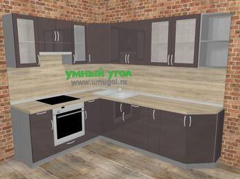 Угловая кухня МДФ глянец в стиле лофт 6,8 м², 190 на 250 см, Шоколад, верхние модули 72 см, встроенный духовой шкаф