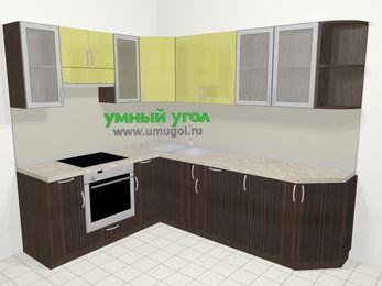 Кухни пластиковые угловые в современном стиле 6,8 м², 190 на 250 см, Желтый Галлион глянец / Дерево Мокка, верхние модули 72 см, встроенный духовой шкаф