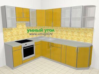 Кухни пластиковые угловые в современном стиле 6,8 м², 190 на 250 см, Желтый глянец, верхние модули 72 см, встроенный духовой шкаф