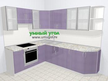 Кухни пластиковые угловые в современном стиле 6,8 м², 190 на 250 см, Сиреневый глянец, верхние модули 72 см, встроенный духовой шкаф