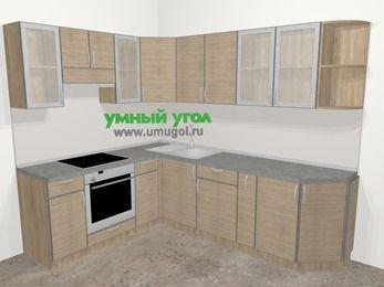Кухни пластиковые угловые в стиле лофт 6,8 м², 190 на 250 см, Чибли бежевый, верхние модули 72 см, встроенный духовой шкаф