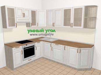 Угловая кухня МДФ патина в классическом стиле 6,8 м², 190 на 250 см, Лиственница белая, верхние модули 72 см, встроенный духовой шкаф