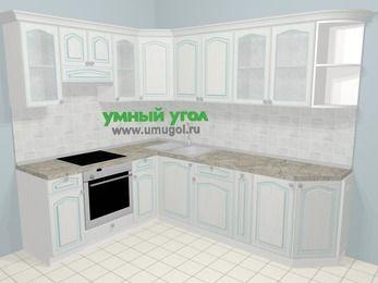 Угловая кухня МДФ патина в стиле прованс 6,8 м², 190 на 250 см, Лиственница белая, верхние модули 72 см, встроенный духовой шкаф
