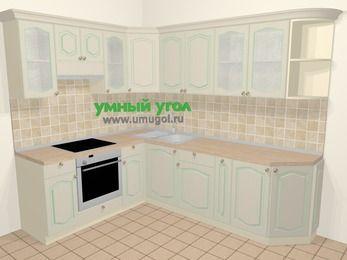 Угловая кухня МДФ патина в стиле прованс 6,8 м², 190 на 250 см, Керамик, верхние модули 72 см, встроенный духовой шкаф