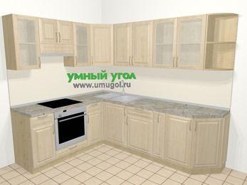 Угловая кухня из массива дерева в классическом стиле 6,8 м², 190 на 250 см, Светло-коричневые оттенки, верхние модули 72 см, встроенный духовой шкаф