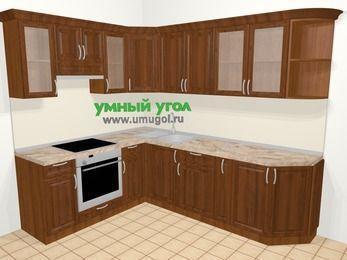 Угловая кухня из массива дерева в классическом стиле 6,8 м², 190 на 250 см, Темно-коричневые оттенки, верхние модули 72 см, встроенный духовой шкаф