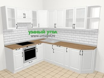 Угловая кухня из массива дерева в скандинавском стиле 6,8 м², 190 на 250 см, Белые оттенки, верхние модули 72 см, встроенный духовой шкаф