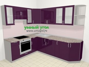 Угловая кухня МДФ глянец в современном стиле 6,8 м², 190 на 250 см, Баклажан, верхние модули 72 см, встроенный духовой шкаф