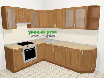Угловая кухня МДФ патина в классическом стиле 6,8 м², 190 на 250 см, Ольха, верхние модули 72 см, встроенный духовой шкаф