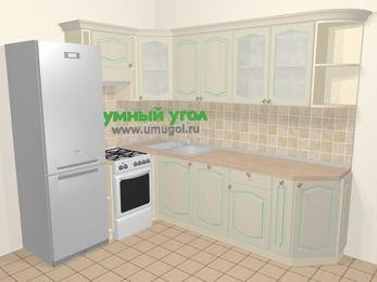 Угловая кухня МДФ патина в стиле прованс 6,8 м², 190 на 250 см, Керамик, верхние модули 72 см, посудомоечная машина, холодильник, отдельно стоящая плита
