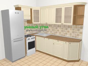 Угловая кухня из массива дерева в стиле кантри 6,8 м², 190 на 250 см, Бежевые оттенки, верхние модули 72 см, посудомоечная машина, холодильник, отдельно стоящая плита