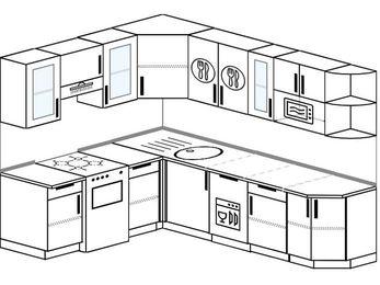 Угловая кухня 6,8 м² (1,9✕2,5 м), верхние модули 72 см, посудомоечная машина, модуль под свч, отдельно стоящая плита