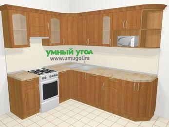 Угловая кухня МДФ матовый в классическом стиле 6,8 м², 190 на 250 см, Вишня, верхние модули 72 см, посудомоечная машина, модуль под свч, отдельно стоящая плита