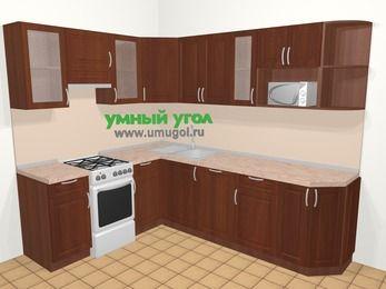 Угловая кухня МДФ матовый в классическом стиле 6,8 м², 190 на 250 см, Вишня темная, верхние модули 72 см, посудомоечная машина, модуль под свч, отдельно стоящая плита