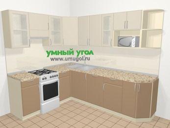 Угловая кухня МДФ матовый в современном стиле 6,8 м², 190 на 250 см, Керамик / Кофе, верхние модули 72 см, посудомоечная машина, модуль под свч, отдельно стоящая плита