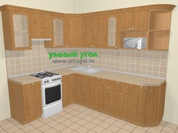 Угловая кухня МДФ матовый в стиле кантри 6,8 м², 190 на 250 см, Ольха, верхние модули 72 см, посудомоечная машина, модуль под свч, отдельно стоящая плита