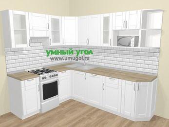 Угловая кухня МДФ матовый  в скандинавском стиле 6,8 м², 190 на 250 см, Белый, верхние модули 72 см, посудомоечная машина, модуль под свч, отдельно стоящая плита