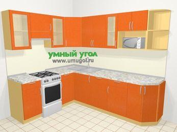 Угловая кухня МДФ металлик в современном стиле 6,8 м², 190 на 250 см, Оранжевый металлик, верхние модули 72 см, посудомоечная машина, модуль под свч, отдельно стоящая плита