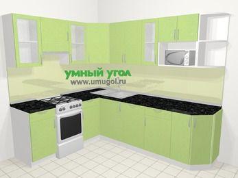 Угловая кухня МДФ металлик в современном стиле 6,8 м², 190 на 250 см, Салатовый металлик, верхние модули 72 см, посудомоечная машина, модуль под свч, отдельно стоящая плита