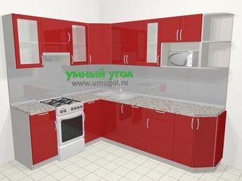 Угловая кухня МДФ глянец в современном стиле 6,8 м², 190 на 250 см, Красный, верхние модули 72 см, посудомоечная машина, модуль под свч, отдельно стоящая плита