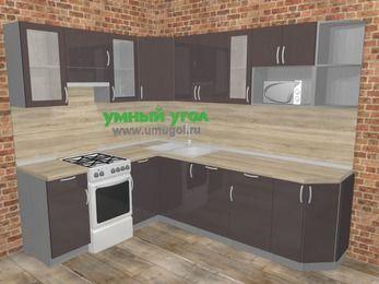 Угловая кухня МДФ глянец в стиле лофт 6,8 м², 190 на 250 см, Шоколад, верхние модули 72 см, посудомоечная машина, модуль под свч, отдельно стоящая плита