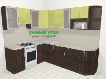 Кухни пластиковые угловые в современном стиле 6,8 м², 190 на 250 см, Желтый Галлион глянец / Дерево Мокка, верхние модули 72 см, посудомоечная машина, модуль под свч, отдельно стоящая плита