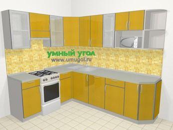Кухни пластиковые угловые в современном стиле 6,8 м², 190 на 250 см, Желтый глянец, верхние модули 72 см, посудомоечная машина, модуль под свч, отдельно стоящая плита